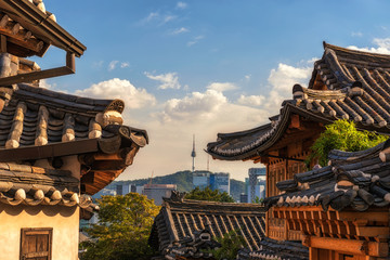 Bukchon Hanok Village of seoul city in  Korea.
