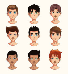 Young man faces cartoons vector illustration graphic design