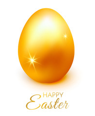 Easter holiday greeting card with gold egg, Premium vector illustration.
