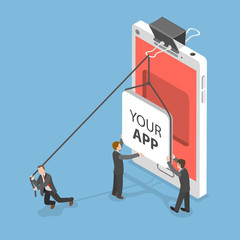 Your app flat isometric vector concept. People are setting an icon of some mobile application into a niche inside of smartphone screen.