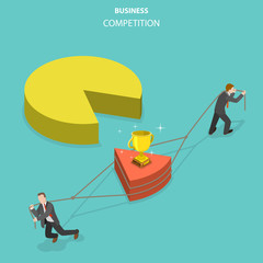 Business competition flat isometric vector concept. Two businessmen are trying to take a possession by a part of the pie chart by pulling it to its own side.