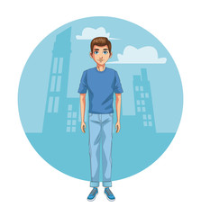 Young man in town cartoon vector illustration graphic design