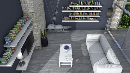 Arredamento d'interni, soggiorno e arredamento moderno, parete di mattoni, vetrata con vista su un parco. Attico di prestigio. Seduta a forma di molletta con cuscino. Panca