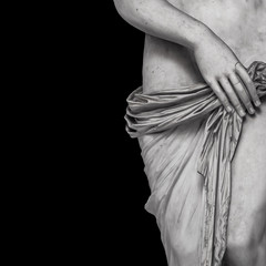 Marble body lines of young naked Roman woman at black background