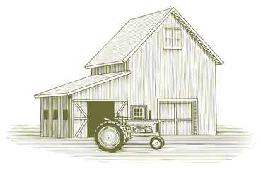 Woodcut Tractor and Barn