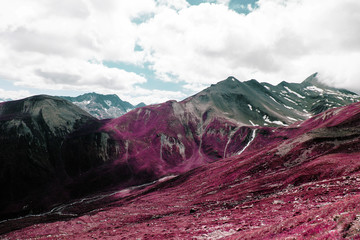 Printed kitchen splashbacks Crimson Beautiful mountains and landscape in the alps switzerland in color infrared