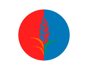 blue red circle paddy wheat barley plant harvest agriculture image vector