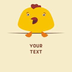 Funny chicken looks out from behind the text. Postcard with cartoon chicken with a field for your text.