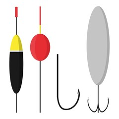 Set bobbers and hooks isolated on white background. Fishing accessories in flat style. Vector illustration