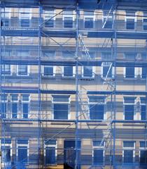 Abdeckplane, Baustelle, Baugerüst, Hausfassade