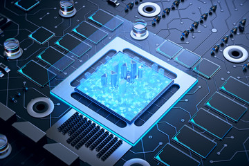3d illustration of futuristic micro chip city. Computer science information technology background. Sci fi megalopolis.
