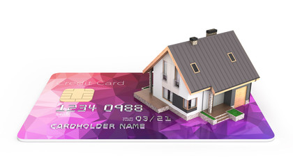 Concept of purchase or payment for housing Illustration of a house placed on a credit card isolated on white background 3d render