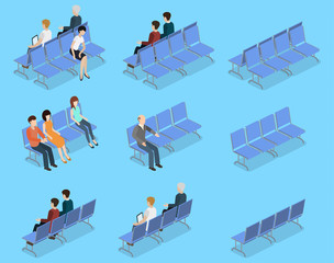Isometric 3D vector illustration set collection of people sitting on a bench and waiting for reception