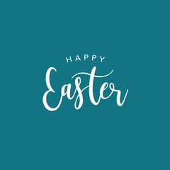 Happy Easter Vector Calligraphy Text Illustration Over Blue Background