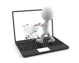 Einkaufen im Internet - Männchen schiebt Einkaufswagen in PC-Bildschirm