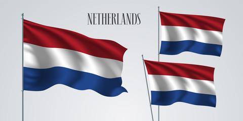 Netherlands waving flag set of vector illustration