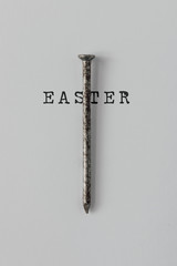 Nail of The Holy Cross of Jesus Christ with word EASTER. Minimal Easter concept.