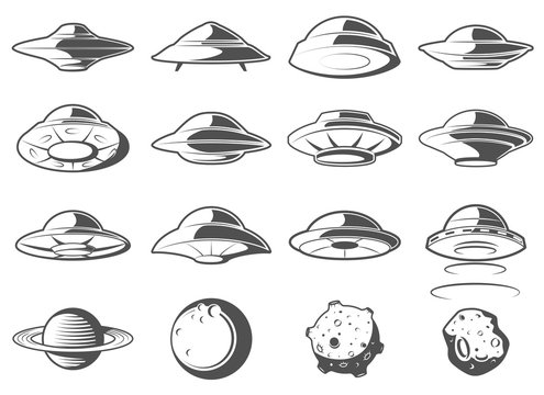 Alien spaceship, spacecrafts and ufo set. Cosmic ship in form saucer for transportation. Monochrome UFO Elements Set