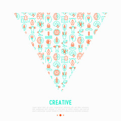 Creative concept in triangle with thin line icons: generation of idea, start up, brief, brainstorming, puzzle, color palette, creative vision, genius, solving problem. Vector illustration.