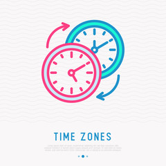 Changing of time zones symbol. Clocks with arrows thin line icon. Modern vector illustration.