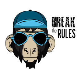 Hipster wild monkey print for t shirt vector illustration clothing design