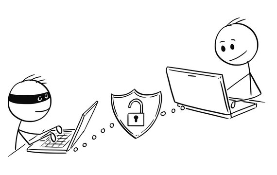 Cartoon stick man drawing conceptual illustration of businessman working on computer while hacker is breaching week password in to his system.Concept of internet and network security.