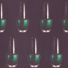 Raster seamless beauty pattern with hand drawn teal nail polish bottles on black paper background