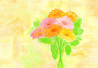 "Colored pencils self-drawn picture  ""Bouquet"", colorful illustration"