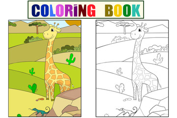 Children picture cartoon animal Safari. The giraffe is walking in the clearing. Vector Coloring, black and white
