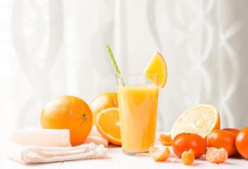 Orange juice. Fresh drink with fruits.