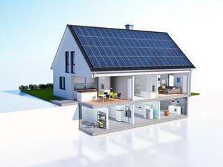 Geschnittenes Haus Technik Solar