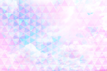 Beautiful, geometric background with futuristic triangles and natural clouds, trendy, cosmic design.