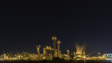 Petrochemical plant at night In the industrial area Eastern Thailand.
