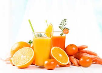 Fresh carrot and orange juice. Healthy drink