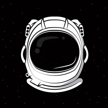 Astronaut helmet over black background vector clothing design