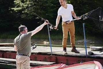 Tuinposter Ontspanning Preparation for fishing trip