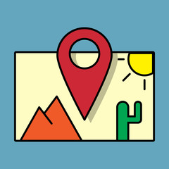 travel pin location on a global map. Flat icon modern design style vector illustration concept.