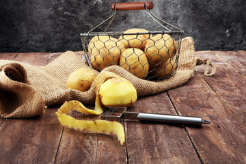 potato food . Fresh raw organic potatoes