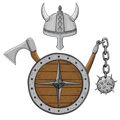 Viking armor set - helmet, shield, flail and axe. Colored hand drawn sketch