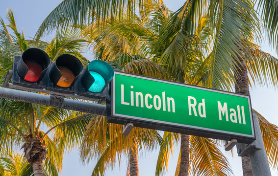 Lincoln Road Mall street sign. It is a famous road of Miami Beach