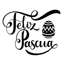 Feliz Pascua lettering. Happy Easter lettering in Spanish. Hand written Easter phrases. Seasons Greetings