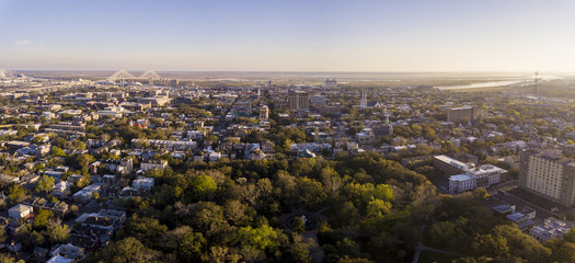 Aerial view of downtown Savannah, Georgia from uptown.