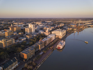 Aerial view of downtown Savannah, Georgia, River Street, and ferry boat.