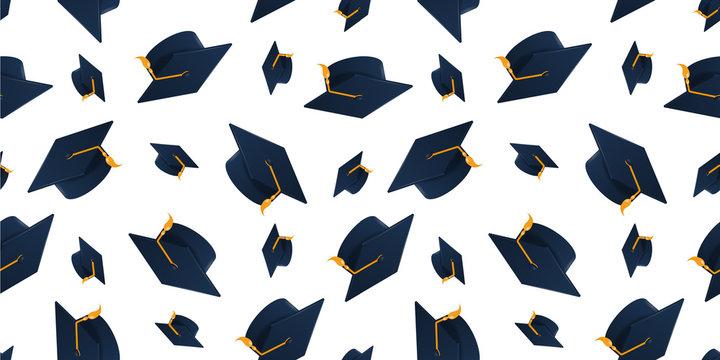 Graduation cap on white background. Seamless pattern.