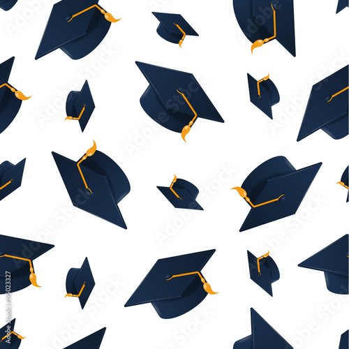 quotgraduation cap on white background seamless pattern