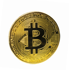 Golden bitcoin coin isolated on white background. Crypto currency