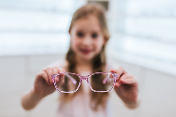 Little girl in ophthalmology clinic
