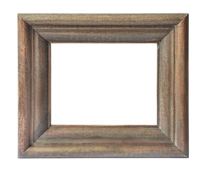 Wide wooden frame in vintage style isolated on white background