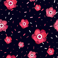 Flowers Vector pattern with confetti