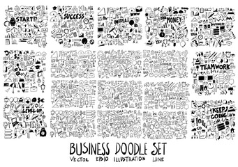Combination Solid and line Business Money doodle vector collection set eps10
